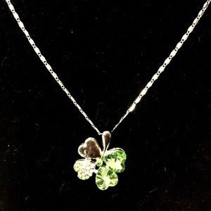 NEW Green & Silver 4-Leaf Clover Pendant Necklace